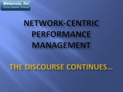Network-Centric Performance Management