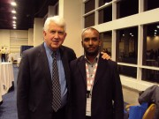 """A proud moment! CE Group member Anuradha Udunuwara of Sri Lanka Telecom with Ethernet inventor Dr. Bob Metcalfe, at the MEF GEN14 event in Washington D.C., Nov. 19, 2014."""